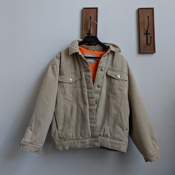 0e7a9eb039f3 ASOS Jackets   Blazers - ASOS Denim Wadded Jacket in Stone